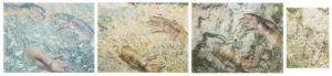 Tatjana Bergelt, Ahto's hands, Estonia, 4-osainen, 2018, valokuvakollaasi, pigmenttivedos ja piirustus, 3 osaa 50 x 64 cm, 1 osa 36 x 26,5 cm