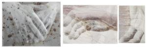 Tatjana Bergelt, Antti's hands, Helsinki, 2-osainen, 2018, valokuvakollaasi, pigmenttivedos ja piirustus, 49 x 60 cm ja 46 x 83 cm