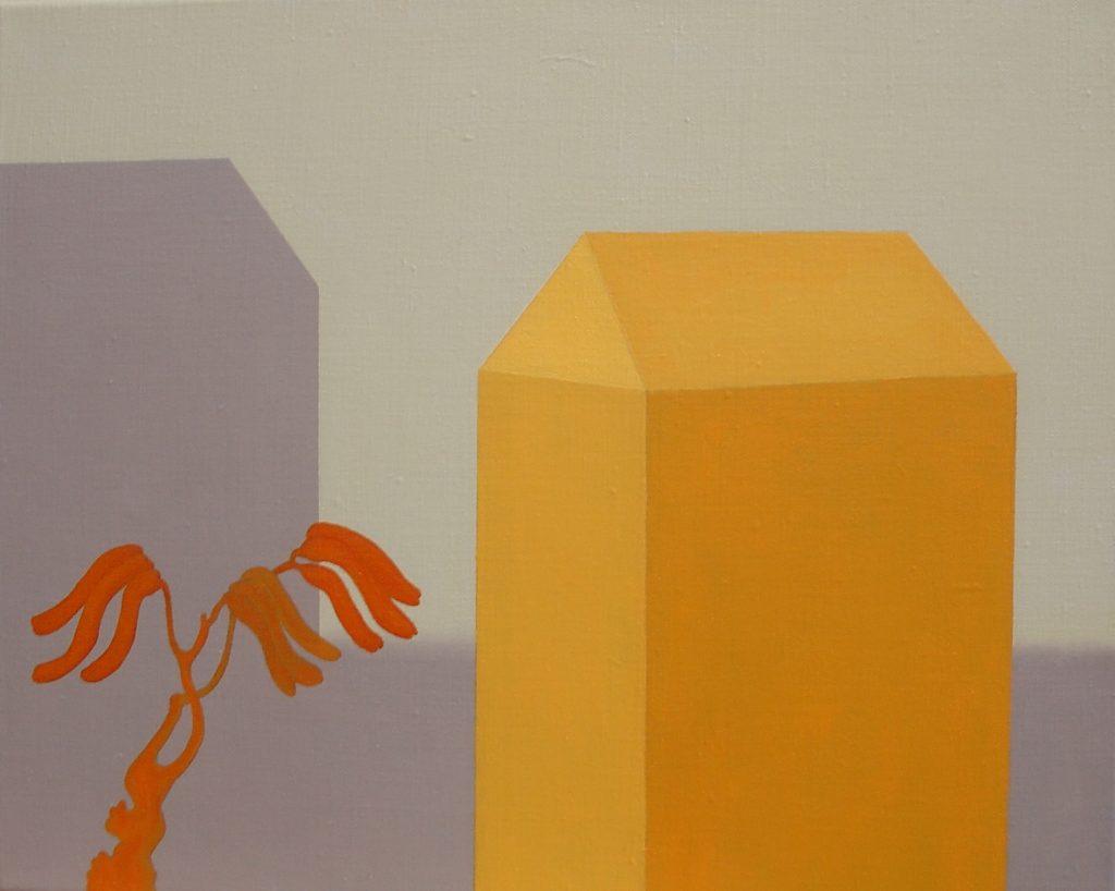 Päivi Lempinen, Paju ja talot, 2019, öljy, 33 x 41 cm
