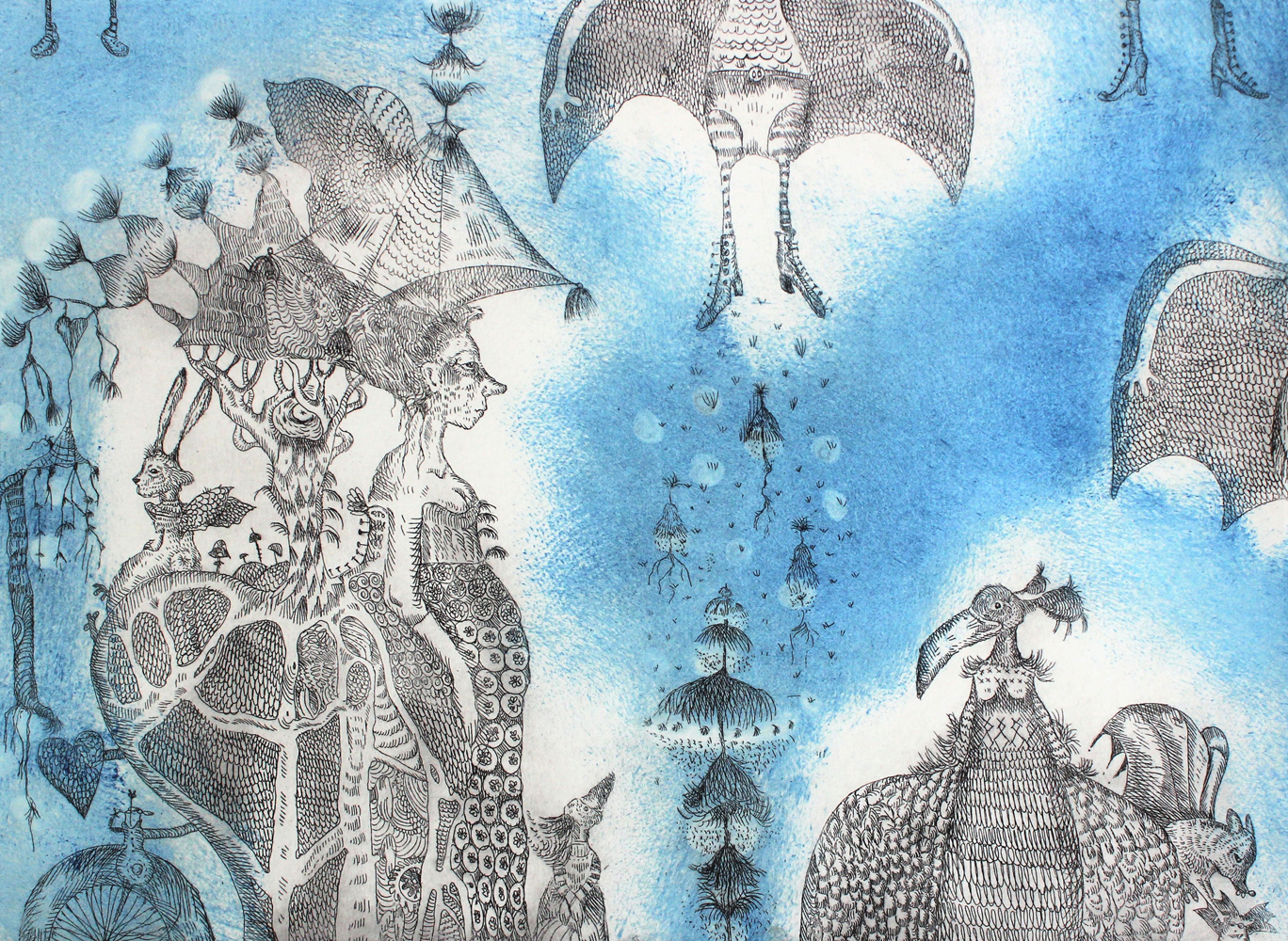 Marje Viitalan sininen metalligrafiikka jossa lintuja