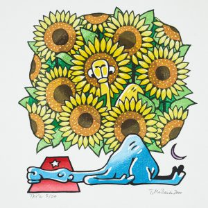 Teoskuva: Moilanen Tuula - Sinisen kamelin keltainen uni (auringonkukat)